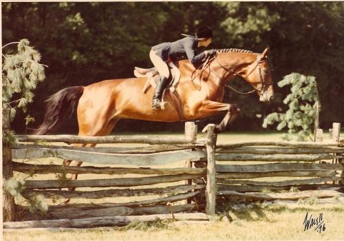 Sandy aboard Fiddler, Rolling Rock Horse Show, 1976