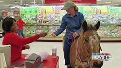 Tabitha Darling and Trixie leave the Target store in Fort Worth.