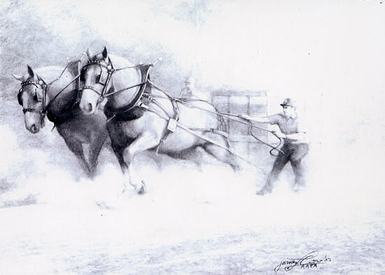 "James Crow ""Horse Power"" Charcoal, 21x29. $2600"