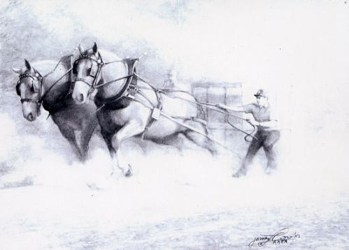 """James Crow """"Horse Power"""" Charcoal, 21x29. $2600"""