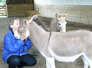 Sarah Fisher and her donkeys, photo courtesy Horse Heroes