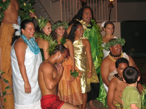 After nearly a week of working outdoors in the hot sun, we all cleaned up and saw a dinner show with a luau. Everyone was smitten with the young man in the red loincloth--the fire juggler. He is quite, um, talented!