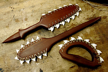 """I don't know why I put this photo of shark tooth clubs here. Poor Capt. Cook. Maybe that's what you get for """"discovering"""" places."""