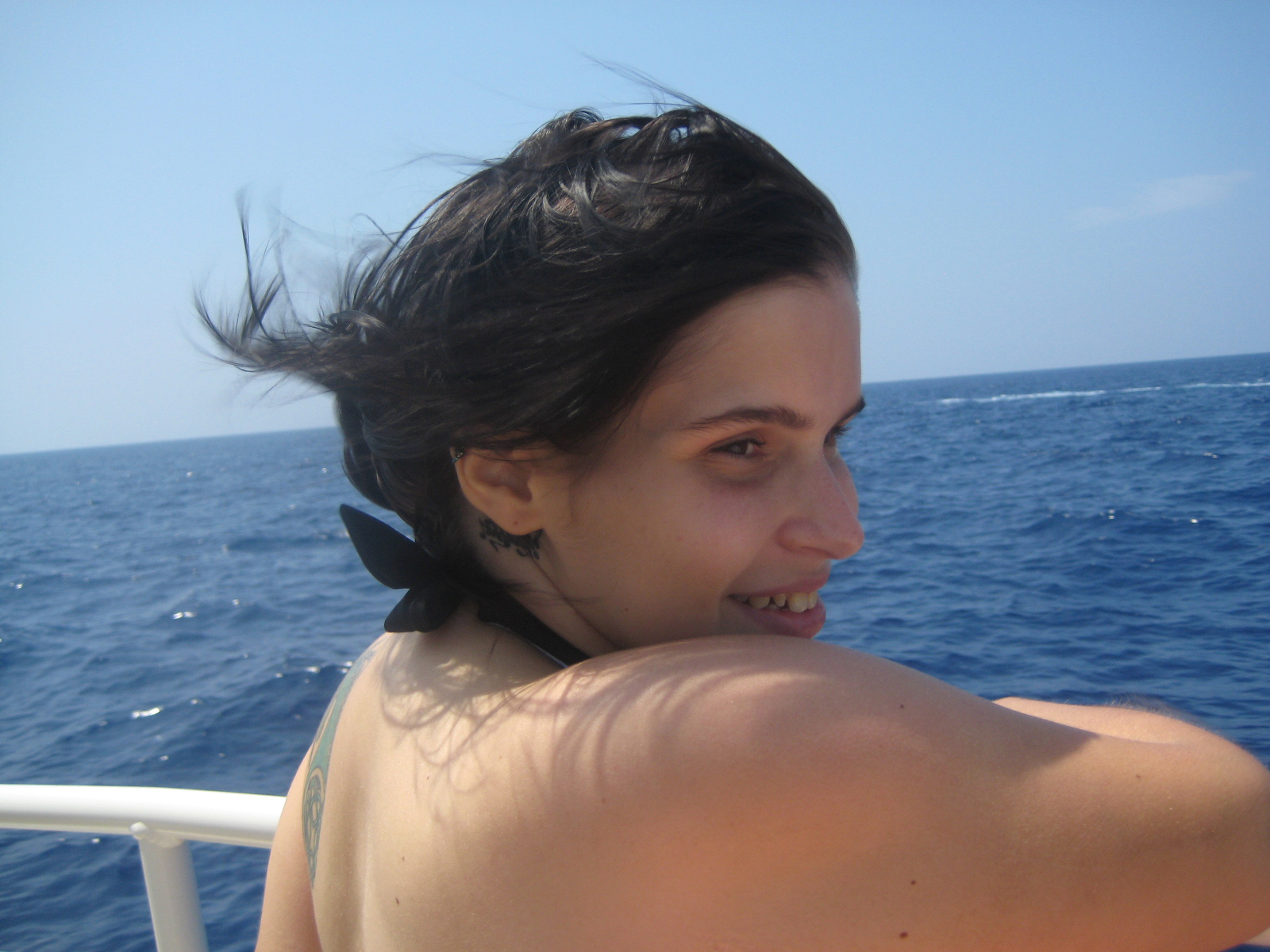 This is my grumpy and sunburned daughter as we returned to Keauhou Bay late this afternoon.